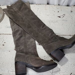 Over the Knee High Suede Leather Boots Olive Gray